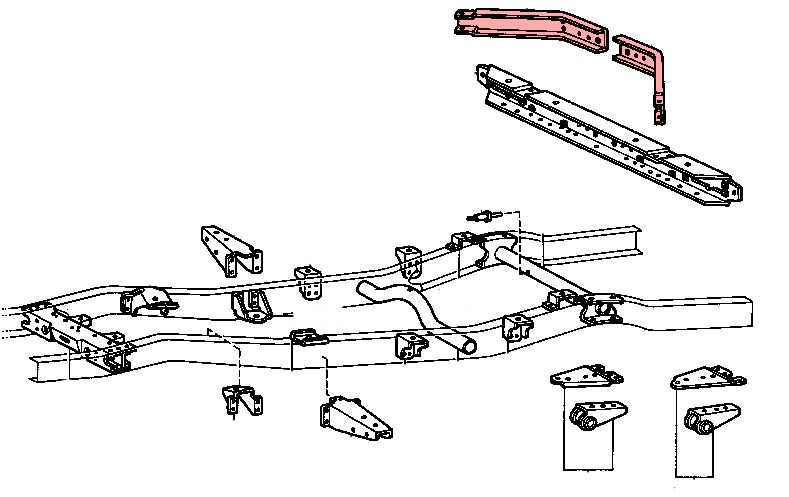 kit traverses diagonales arri u00e8re de ch u00e2ssis pour toyota bj