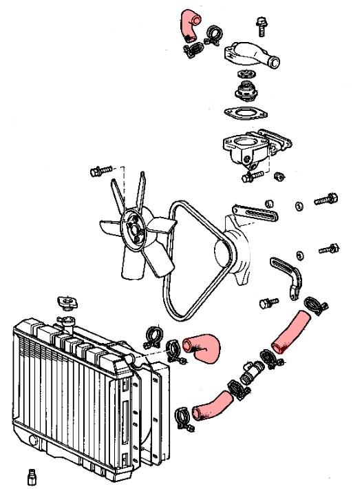 kit durites radiateur complet pour toyota bj4  moteur b